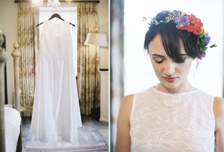 colourful floral headband on bride