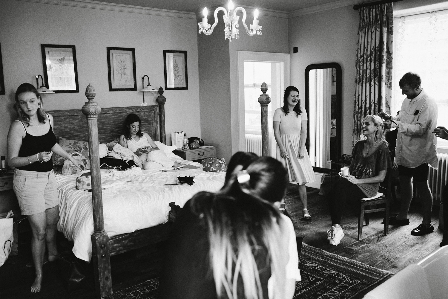 bridesmaids getting ready in hotel room in Somerset