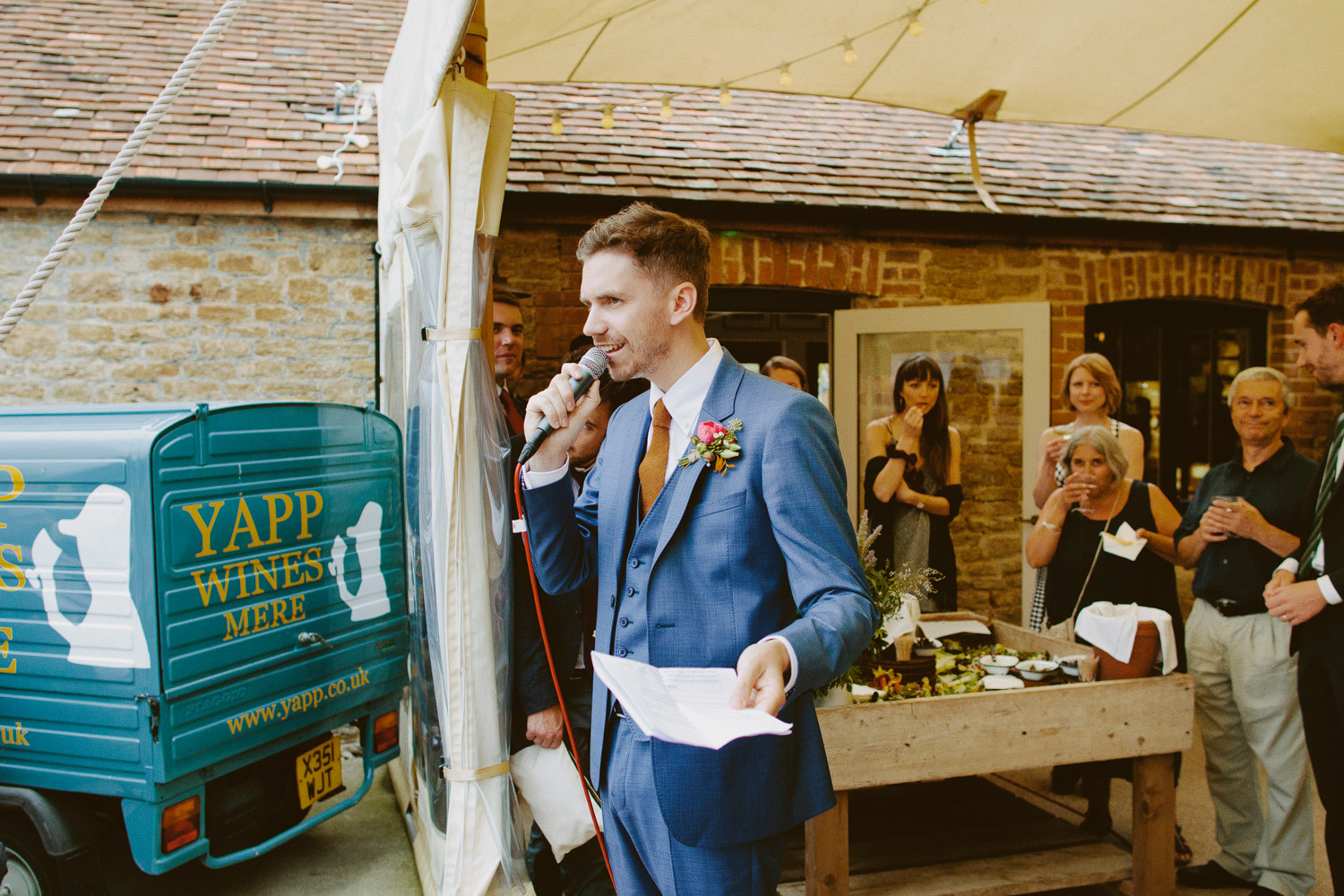 Groom giving speech outside at Hauser & Wirth Somerset