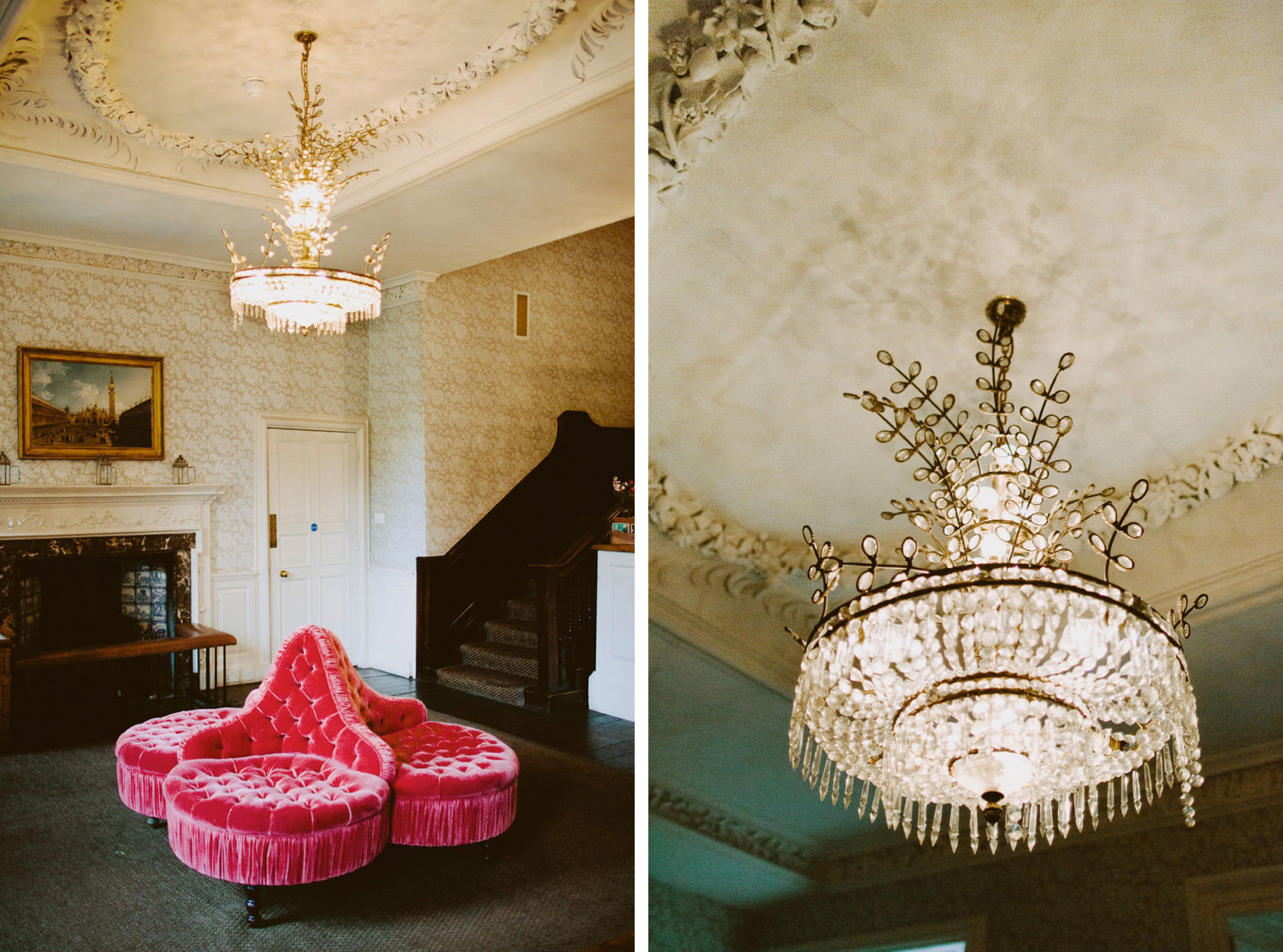 chandelier and red sofa beneath