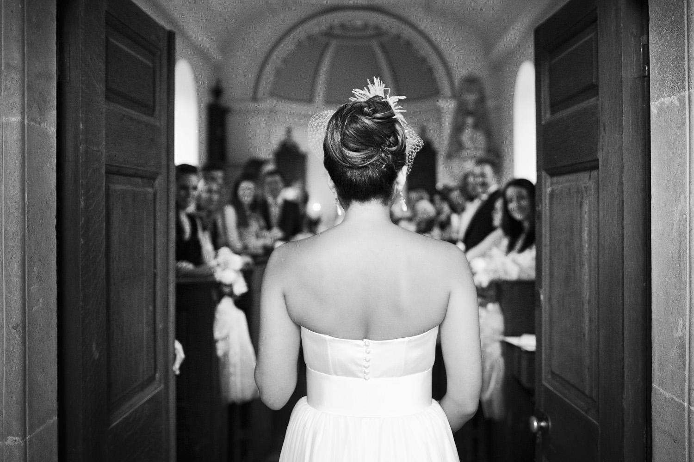 bride entering church at Somerset wedding
