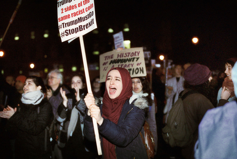 Muslim woman shouting at march against Trump UK visit