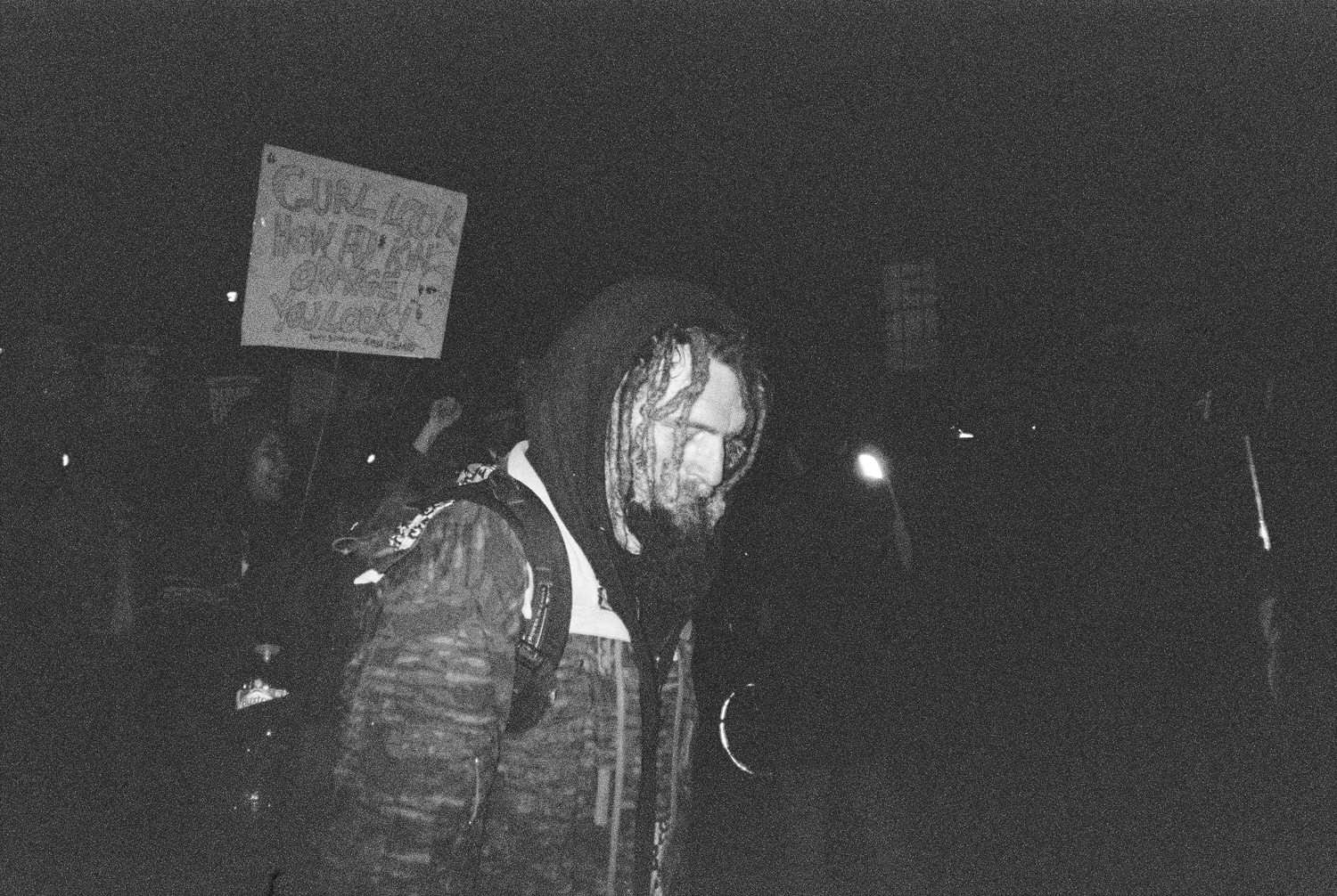 white man with dreadlocks at London protest
