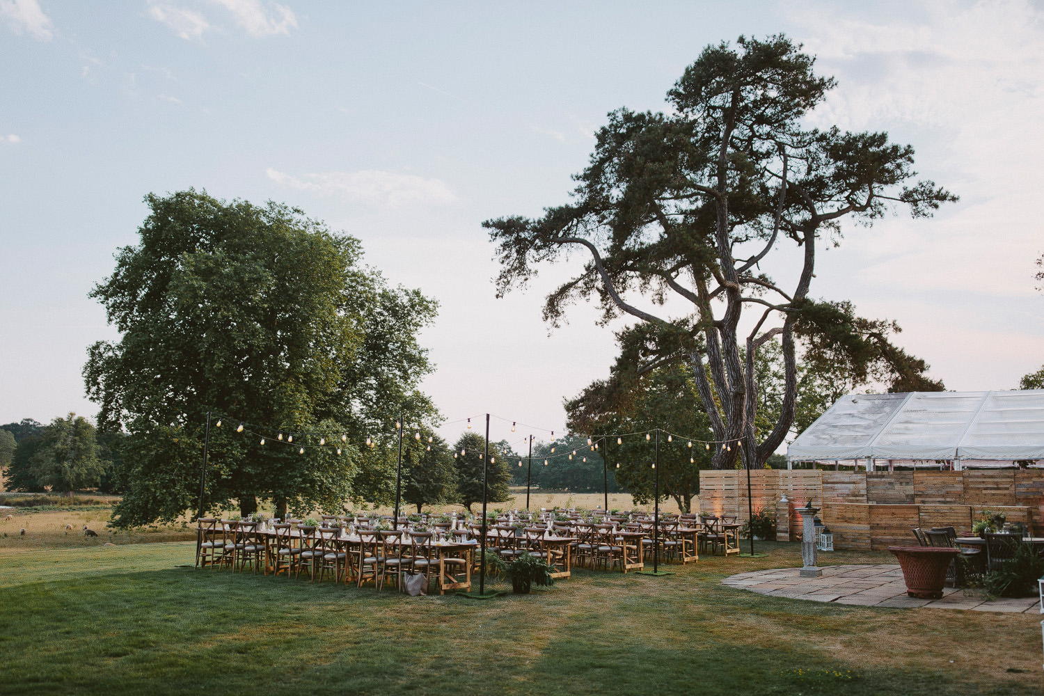 wedding table settings at Wilderness reserve