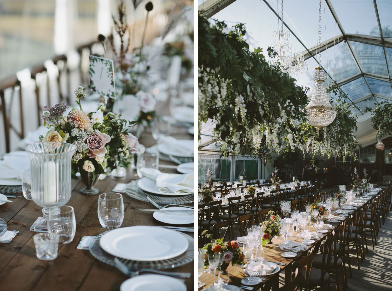 Clear marquee with hanging florals and chandeliers