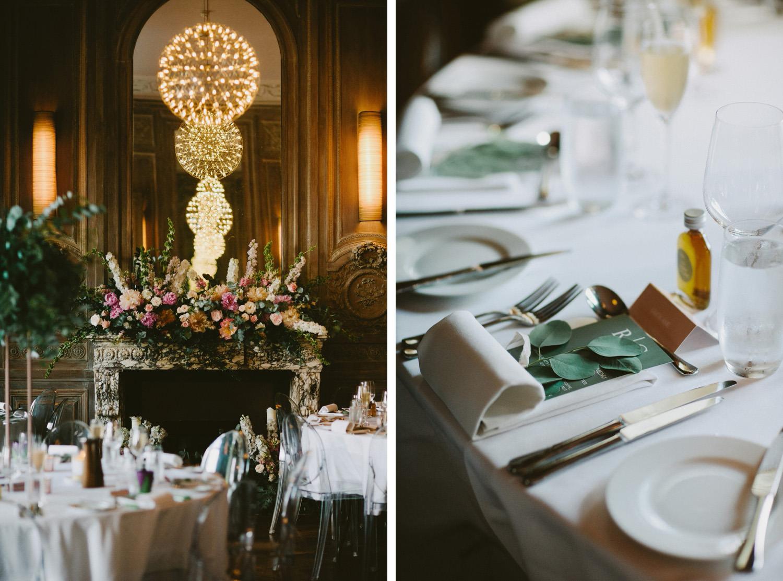 Wedding table settings at Cowley Manor
