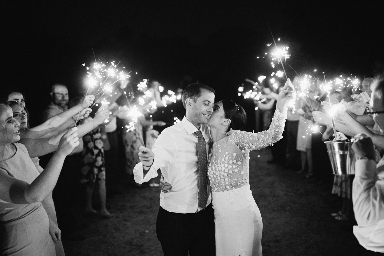 Sparkler exit during a wedding at Cowley Manor