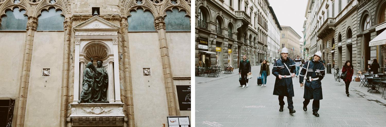 Two Italian police man walking through Florence