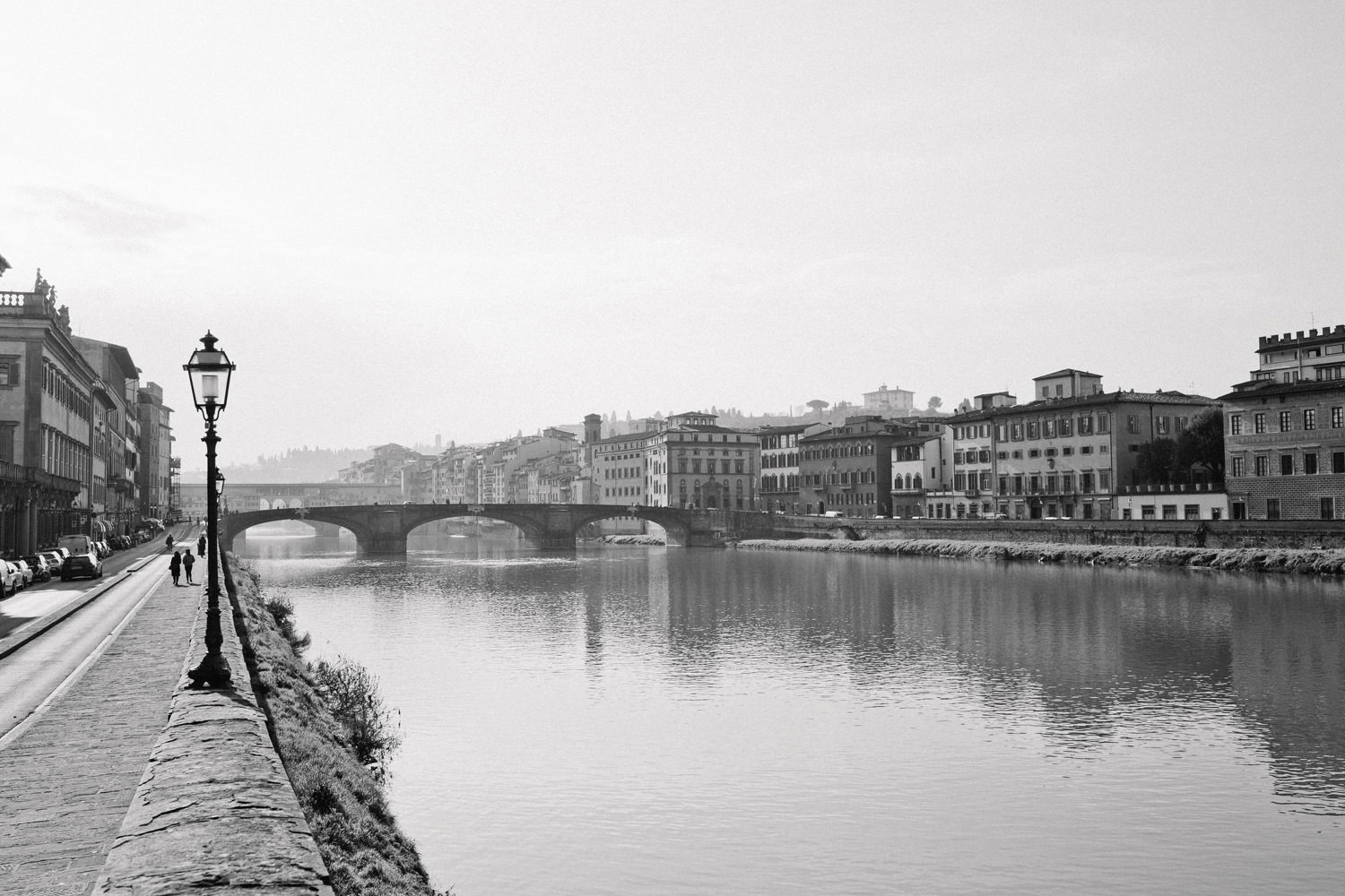 View of the river running through Florence in Tuscany