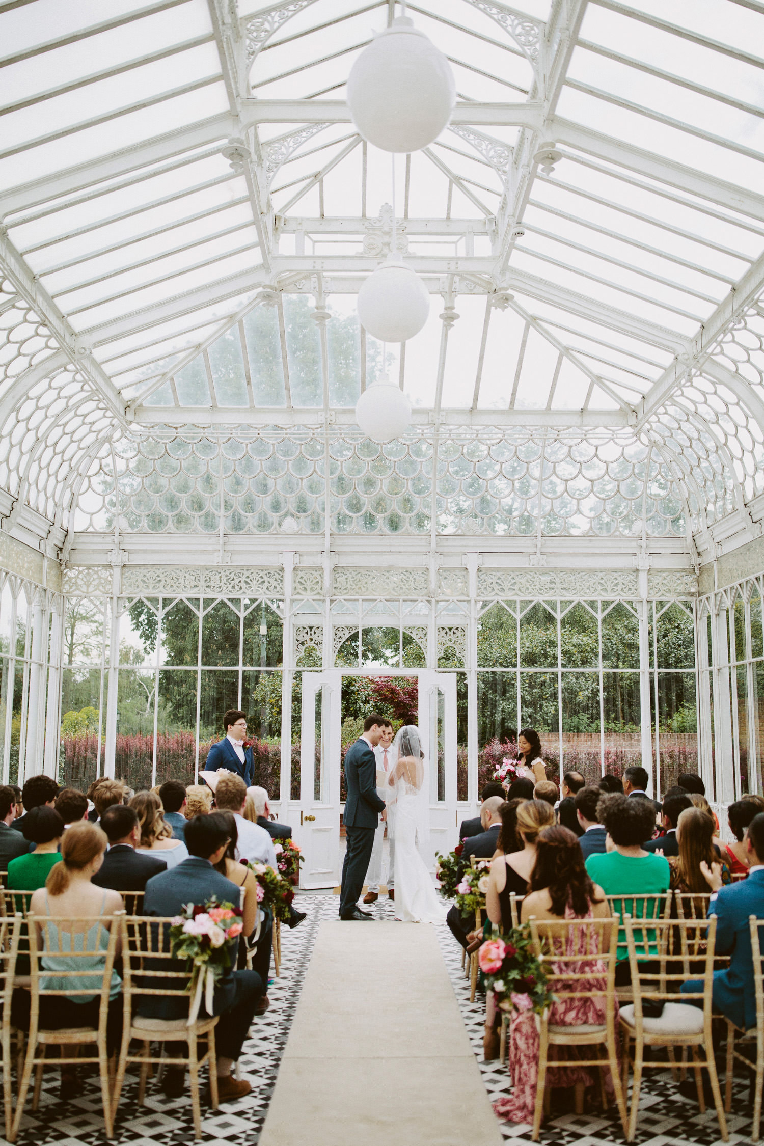 Horniman museum wedding ceremony in the glass house