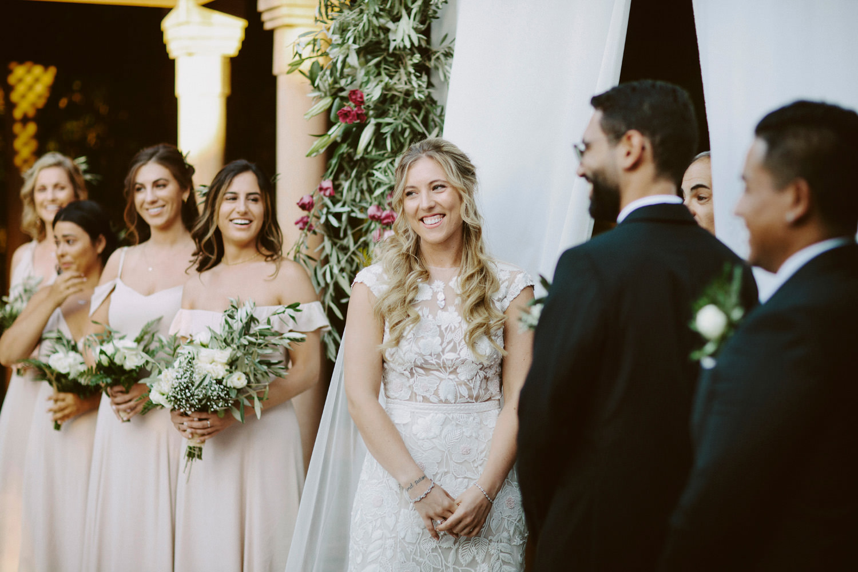 Bride smiles during Marrakech wedding ceremony