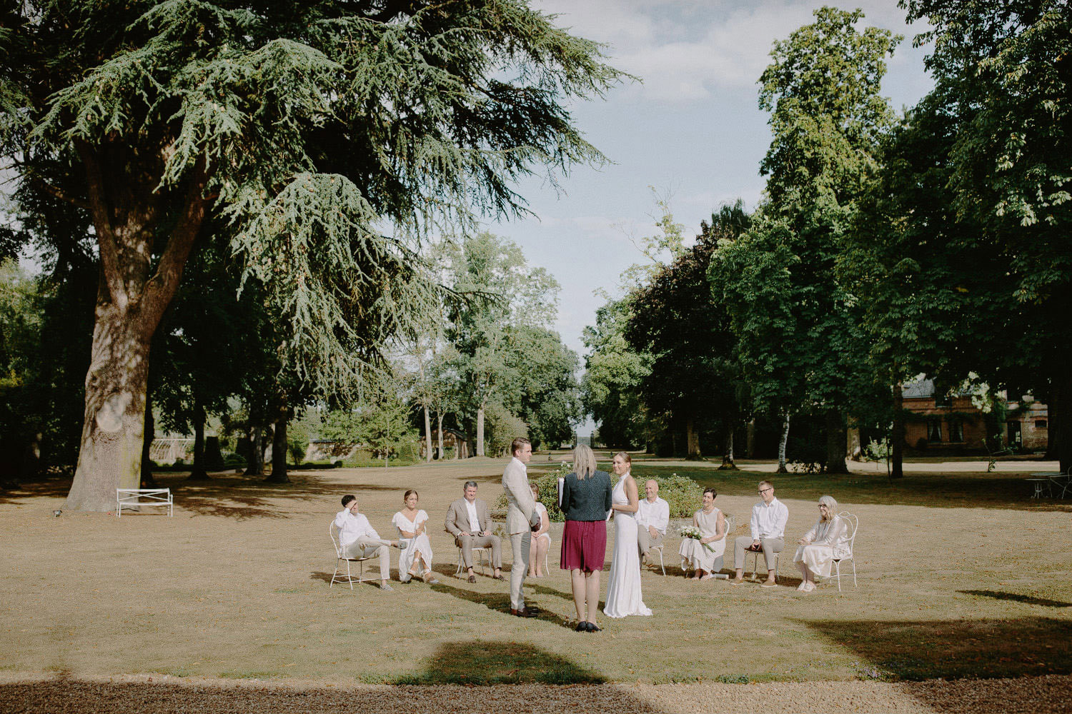 wedding ceremony taking place at Chateau de Bouthonvilliers