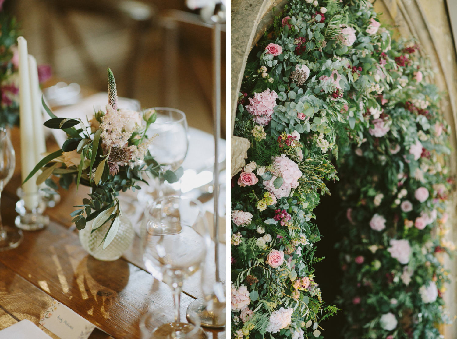 Floral arch at Sudeley Castle wedding