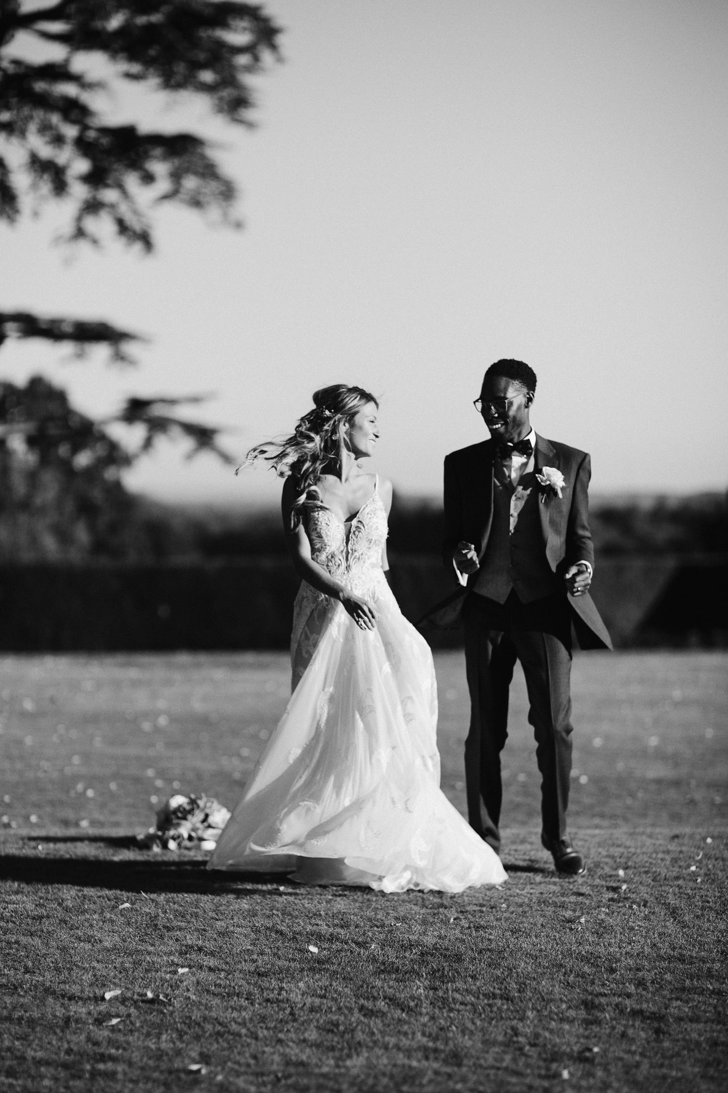 bride and groom dance outside at Kirtlington park in Oxfordshire