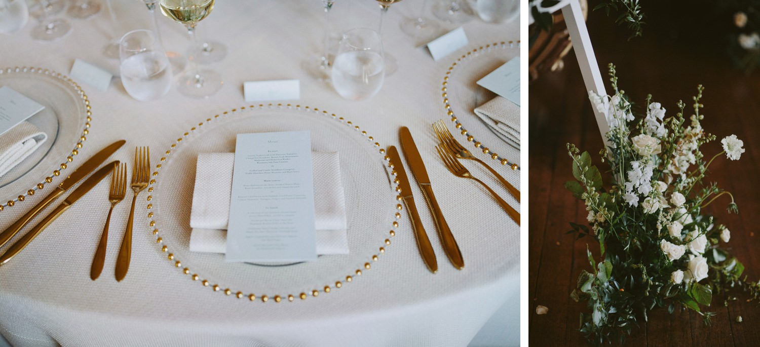 place setting with white details at wedding dinner