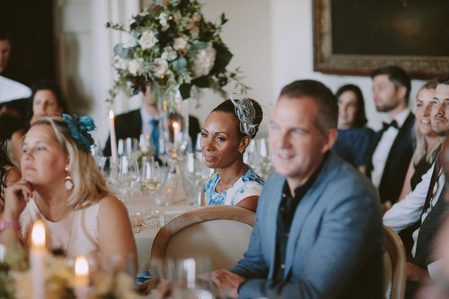 wedding guests seated for dinner at Kirtlington park