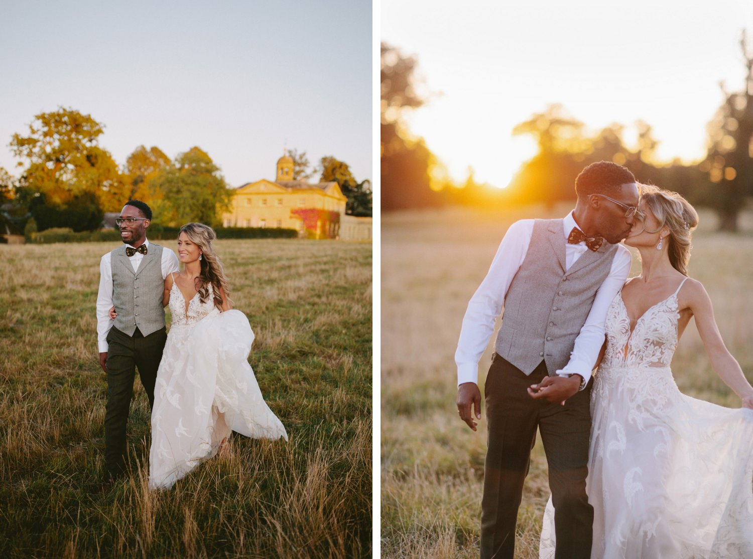 groom kisses bride in the sunset at Oxfordshire wedding venue