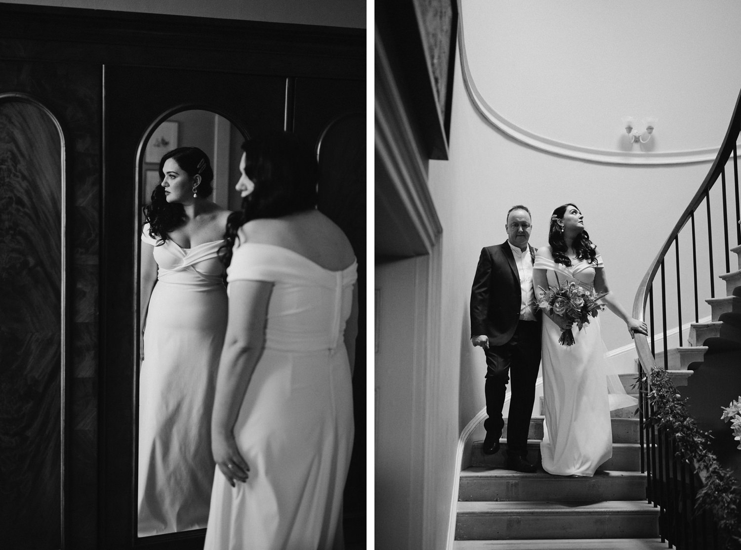 bride walks with dad down stairs at Cartmel