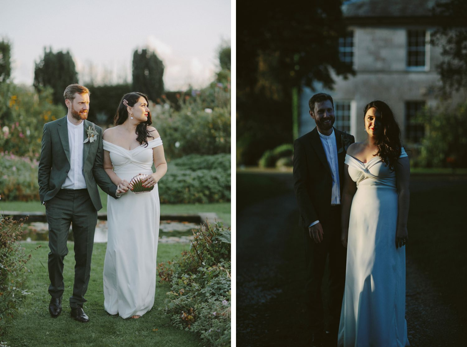 bride and groom stand in sunset golden light during lake district wedding